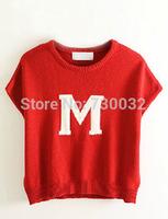 New listings Korea lovely ladies wild M College Wind loose short-sleeved sweater vest short letter sweater