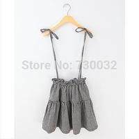 Spring and summer women's strap skirt plaid grid sweet British style minimalist Skirts