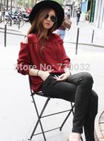 2014 summer Korea spring new retro sexy strapless solid color Slim Sroom loose chiffon shirt long sleeve shirt