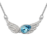 2014 New Top Fasion Freeshipping Romantic Women Pendant Necklaces Rhinestone Jewelry Temptation Angels - Austrian Necklace
