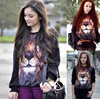 Women 2014 New European Tiger Animal Printing Loose Pullovers Sweatshirts 3D Sweaters Hoodies Top Drop Shipping