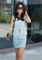 Free Shipping! spring 2014 Fashion women Ladies sleeveless Chiffon casual dress OL dress