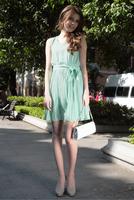 2014 New fashion women Bohemian Georgette pleated beach dress wave beach dress chiffon Princess maxi long dresses wholesale