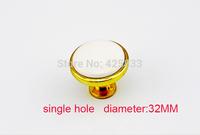 Hot Saling 10pcs single hole golden small ceramic handles kids drawer knobs kitchen cupboard wardrobe closet round pulls
