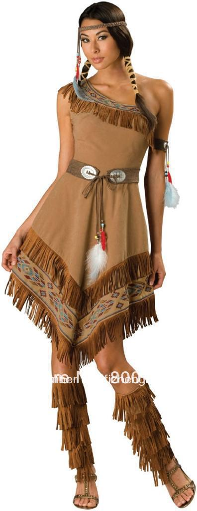 free shipping Ladies Pocahontas Native American Indian Wild West Fancy Dress Party Costume indian costume(China (Mainland))