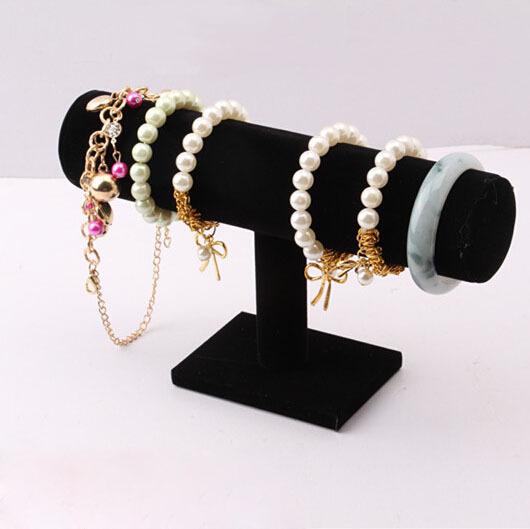 1Pcs Black Velvet Hard Jewelry Display Stand Holder T-Bar Bracelet Chain Watch Rack(China (Mainland))