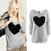 Drop Shipping Fashion Women 2014 Love Heart Printed Round Neck Long Sleeve T-Shirt Tops Shirt Tees