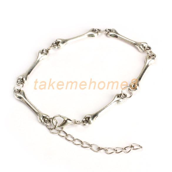 Trendy Cool Rock Metal Punk Gothic Bone Chain Bangle Wrist Bracelet Silver WORD(China (Mainland))