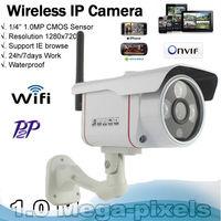 1.0 Megapixel 720P HD IP Camera Wifi Outdoor/Indoor P2P Plug & Play Waterproof IP 66 Support Onvif