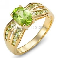 Jewelry Brand New Free Shipping Fashion Costly Green Peridot Woman's Stamp 10KT Yellow Gold Wedding Rings Size 6 to 9 BLYR018YGP
