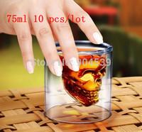 Wholesale  84pcs/lot 75ml Doomed Crystal Skull Shot Glass/Crystal Skull Head Vodka Shot Wine Glass Creative Mug