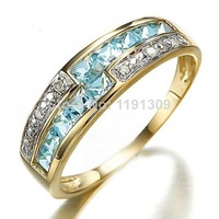 Jewelry AAA Blue Aquamarine Fashion Free Shipping Brand New Woman's Stamp 10KT Yellow Gold Wedding Rings Size 6 to 10 BLYR011YBA