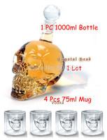 Free shipping Doomed Crystal Skull Shot Glass/Crystal Skull Head Vodka Shot Wine Glass Mug/1Pc 1000ml bottle+ 4 pcs  glass