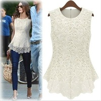 2014 New fashion short-sleeve lace shirt chiffon shirt top sleeveless O-Neck Floral design women's shirt color white black