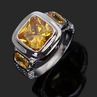 Jewelry Beautiful Hot Free Shipping Yellow Topaz AAA Fashion Man's Stamp 10KT White Gold Wedding Rings Size 8 to12 BLYR048WYT