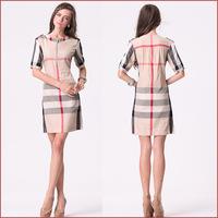 2014 New High quality autumn VINTAGE super luxury cotton brand design O Neck short sleeve  women khaki  dresses