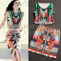 2014 fashion summer women's print design short sleeveless vest top slim hip bust skirt twinset dress