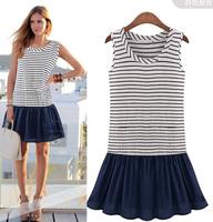 2014 summer fashion stripe patchwork knitted one-piece dress plus size vest suspender skirt female