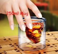 Free Shipping 250ml Doomed Crystal Skull Shot Glass/Crystal Skull Head Vodka Shot Wine Glass Creative Mug