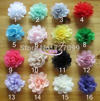 Hot Sell 5cm Plain Color Chiffon Flower+ Full Lined Hair Clip Mix Color 60pcs/Lot
