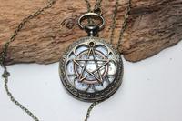 Supernatural ,Pentagram supernatural Pentacle pattern antique pocket watch steampunk gift