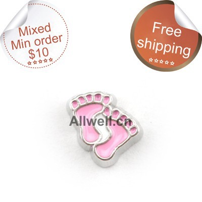 Free shipping floating charms for glass lockets pink footprint charms