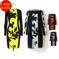 Sexy bodycon dresses  Summer Celeb Women Floral Print Dress Long Sleeve Strech Party Evening Club Dress for women 2014