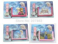 Free Shipping !100pcs/lot 2015 Fashion  Elsa and Anna Princess Watch Set Cartoon Children Watch Set (Watch +Wallet) A3325