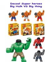 Classic Toys Decool Super Heroes 3 large Hulk action figures VS fantastic four 3 pcs big thing minifigures building blocks