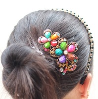 Top quality Classic Double Floral Bridal side hair  Rhinestone accessories for brides jewelry wedding hair comb