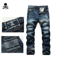 2014 The new high-end custom embroidered skull mastermind japan MMJ Patchwork tide brand men's jeans