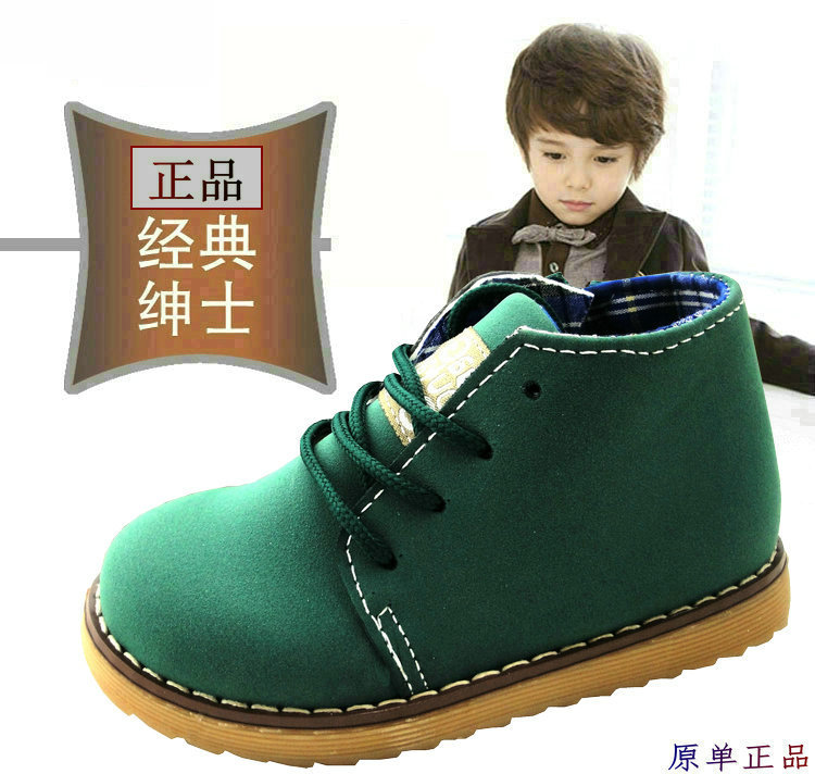 New 2014 Spring Autumn Boys Girls shoes PU leather Children's Martin boots Kids vintage Patent leather Snow boots(China