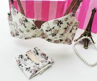 New 2014 Fashion Secret Women Underwear Floral Print Push Up Bra Briefs Set VS Seamless Bra and Panties Set