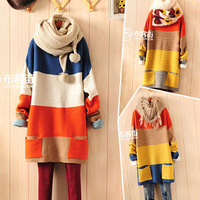 New Women Sweater Striped Patchwork Pullovers Causal Bat Sleeve O-neck with Pocket Winter Autumn Knitted Long sweaters Hot Sale!