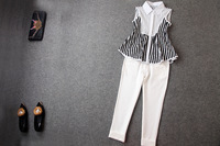 2014 brand new spring and summer women's short-sleeved T-shirt  + feet pants casual suit fashion setsT1836
