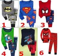 new boys batman superman and spiderman clothing sets kids pijamas children pajama sets for 2-7 years 6 colors boys sleepwear
