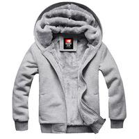 men winter hoodies, men casual cardigan, Faux fur lining men warm hoodie, plus size large men hooded jacket, free shipping,L0683