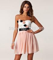 Cute fashion three-dimensional flower princess chiffon dress wrapped chest