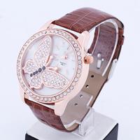 Electronic 2014 New Butterfly Surface Fashion Women Rhinestone Watches Quartz Analog Women Dress Watches Leather Strap Watches