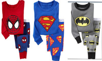 2014 new Spiderman Batman Superman Pajamas sets kids long sleeve cotton pijamas children PJS for 2-7 years boys clothes sets