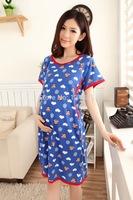 Summer pregnant woman sleepwear cotton cartoon thin for lactation female short sleeve nightdress pajama 51588