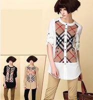 2014 new casual British brand woman long-sleeved shirt Plaid blouse cotton original ladies' spring summer blouses