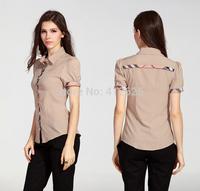 promition Fashion lattice blouse Europe stripe plaid printed lady vintage design short sleeve slim women shirt Free Shipping