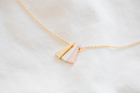 2014Fashion 18k Gold silver plated 3 color triangle Necklace Pendant Necklace for women gift Free Shipping Wholesale