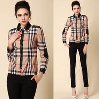 NEW 2014 spring summer fashion blouse  shirt for women elegant basic blouses Plaid turn down collar shirts khaki color