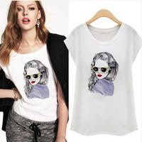 2014 summer women's loose sleeve raglan short-sleeve o-neck young girl pattern beading t-shirt