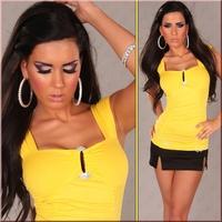 Fashion popular drill spaghetti strap short design yellow elastic t-shirt free shipping