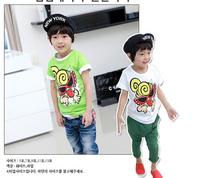 2014 new arrival summer Children 100% cotton top baby girl boy monster t shirt kid shortsleeve lovely clothing 5pcs/lot