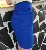 Cheapest Free Shipping New Fashion 2014 Summer Women Skirts High Waist Candy Color Plus Size Elastic Pleated Short Skirt BK001