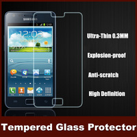 0.3MM HD Explosion-proof  Premium Tempered Glass Screen Protector For Samsung I9100 Galaxy S2 Retail Box 2 Home Button Sticker